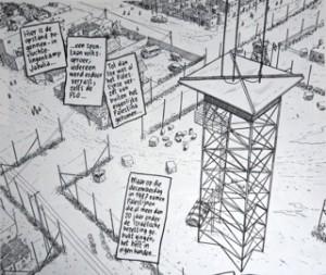 """Joe Sacco: """"Onder Palestijnen, de Intifada in Beeld"""" (graphic novel, Ned. uitgave), uitgeverij XTRA, 2005"""