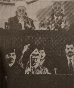 Yasser Arafat proclameert de staat Palestina op 15 november 1988 kort na middernacht in Algiers