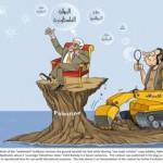 "Abbas: ""soevereine Palestijnse staat"". Kolonist op bulldozer: ""tweestaten oplossing"". Cartoon Fahd Bahady."