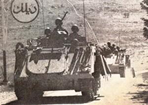 Maart 1978: Israëlische pantservoertuigen op de grens met Libanon.