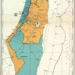 De grensverloop tussen de Joodse en Palestijnse staat zoals besloten door de VN. Klik voor grotere kaart.