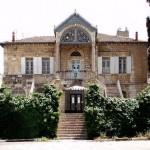 Orient House in Oost-Jeruzalem. Een belangrijk Palestijns politiek en diplomatiek centrum. Gesloten door Israel in 2001.
