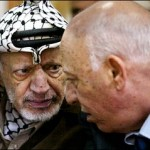 Sharon en Arafat in overleg. bron: www.topics.times.com
