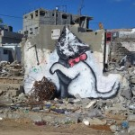 Recent werk van Banksy in de Gazastrook