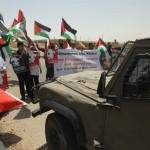 Demonstratie in de wijk Shuafat, in verband met herdenking dood van Mohammed Abu-Khdeir.