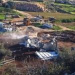 De verwoeste melkfabriek bij Hebron