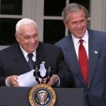 Bush, Sharon op 14 april 2004: 'Tote die man zu tief begräbt kommen als Gespenster wieder'