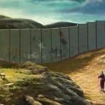 Dit jaar zullen Jozef en zijn vrouw de nacht niet in Bethlehen kunnen doorbrengen (bron: kerstkaart Banksy)
