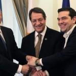 De premiers van Israël, Cyprus en Griekenland.